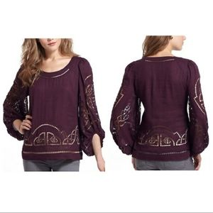 ANTHRO | MEADOW RUE maroon lace eyelit top